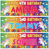 2 personalised birthday banner unicorns balloon rainbow kid girl party poster