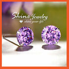 STERLING SILVER MEN LADY KID PURPLE AMETHYST BIRTHSTONE ROUND STUD EARRINGS GIFT