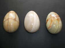 "Set 3 Extra Large Marble Eggs Brown White Green 4-1/2"" Polished Lot NOS New #1"