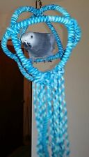 Medium Blue Parrot 3 Ring Orbit Preening Swing Perch Cotton Rope