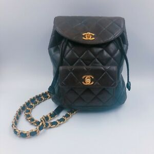 Auth CHANEL Quilted Matelasse Backpack Black Leather Vintage France used