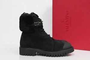 sz 7.5 / 38 Valentino Garavani Black Rockstud Cap Toe Rabbit Fur Trim Boot Shoes