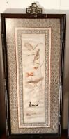 Vintage Chinese Silk Embroidery Wall Panel Floral Tapestry Chinoiserie with Duck