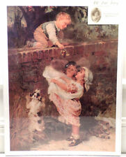 """Victorian Lithograph Print Picture """"Sweet Treets"""" Children On A Bridge 12X16"""