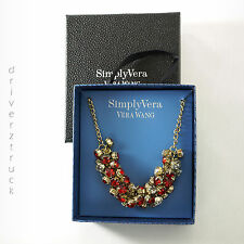 SIMPLY VERA WANG New in Gift Box RED & CLEAR Faux CRYSTALS Cluster NECKLACE Gold