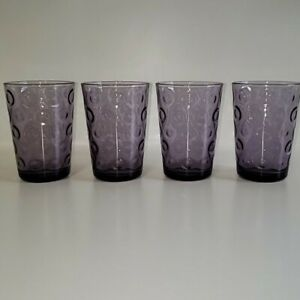 CircleWare Glass 7 oz. Juice Glasses Purple Optic (Set of 4)