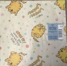 Vintage 80s Hallmark Ambassador Gift Wrap Wrapping Paper Fat Cat New