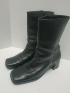 BASS Vintage Black leather Mid Calf Bootie Semi Chunky Heel Platform Size 7.5