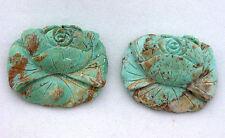 60.45 Carat Two Custom Flower Turquoise Bead Gem Stone Gemstone EBS6312