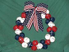 """12"""" Red White Blue Patriotic Bell Wreath-1.75"""" Metal Jingle Bells-Ec"""
