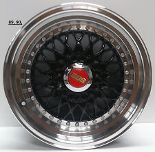 "15"" Alloy wheels bbs rs style to fit Golf mk2 mk3 black pol lip x 4"