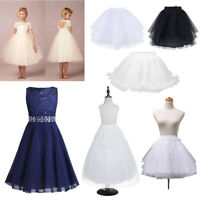 Child Kids Petticoat Flower Girl Party 2-Hoop Crinoline Underskirt Dress Slips