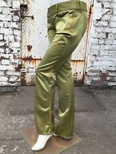 Vintage 1990s low rise jeans trousers Diesel green satin hipster lime UK 12 tall