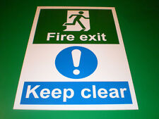 Fire Exit Keep Clear A4 Sticker Fire Door Sign - Evacuation, Warning, Safety