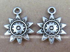 P014 50pcs Tibetan Silver Charm Sunflower Accessories Beads Wholesale
