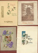4 vintage Christmas Cards  c 1930s   Windmill  Holly  Flowers  Cottage    JX1679