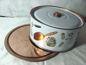 Weibro Copper Metal Cake Plate and Cover with Kitchen Utensils and Pans Design