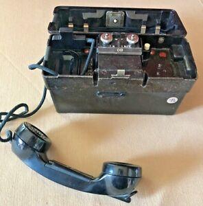 VTG German Military Field Phone Bakelite Case Standard Elektrik Lorenz WORKING!