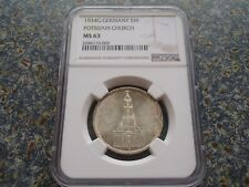 Germany Third Reich 5 Mark Potsdam Church 1934 G lowest edition! NGC MS 63 UNC