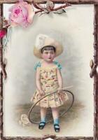 Victorian Die Cut Stock Trade Card Little Girl with Hoop & Stick Branches Border