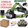 25000LM 5x XM-L T6 Headlamp Headlight Head Light LED USB Rechargeable+2x Battery