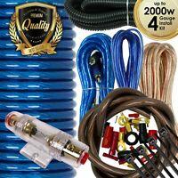 Audiotek 4 Gauge Amp Kit Amplifier Install Wiring Complete 4 Ga Wire 2000W Blue