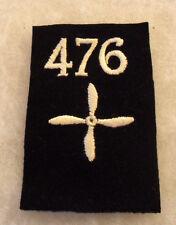 """WWI AEF AERO SQDN 476TH EM SHOULDER PATCH 4 BLADE PROP ON BLK WOOL 4 5/8""""T 3""""W"""