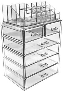 Acrylic Cosmetics Makeup and Jewelry Storage Organizer Case Display with Drawers