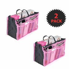 2 Pack Pink Cosmetic Bag Large Purse Organizer Inserts with zipper