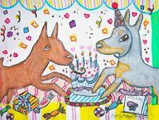 German Pinscher Birthday Party Outsider Pop Folk Vintage Art 8 x 10 Signed Print