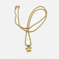 Gold Tone Snake Chain Star Necklace  31""