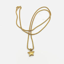 """Gold Tone Snake Chain Star Necklace  31"""""""