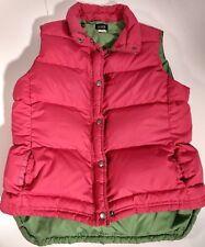 Womens J Crew Factory 80% Down Puffer Vest Size Medium Zip/Snaps Pink Green EUC