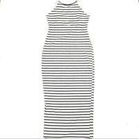 Super Down Womens Dress Size S Striped High Neck Midi Bodycon Stretch Fitted
