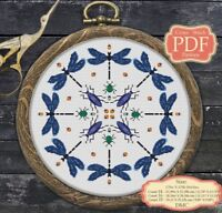 Blue Dragonfly Mandala - Modern Cross stitch Embroidery - PDF Pattern - 025
