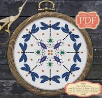 Blue Dragonfly Mandala - Modern Cross stitch Embroidery - PDF Pattern - 025