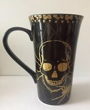 Tall SKULL LATTE MUG with SPIDER Black Gold Fine Porcelain LARGE ~ By 222 FIFTH