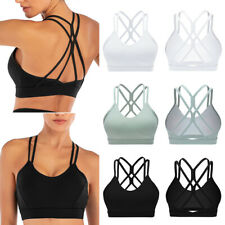 Women's Sports Bra Cross Back Strappy Removable Pads Yoga Running Workout Bra