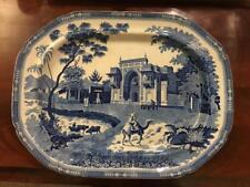 "Rogers Blue White Staffordshire Transferware 21"" Camel Platter Oriental c.1820"