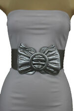 Women Metallic Silver Wide Faux Leather Fashion Belt Bow Tie Buckle Plus M L XL