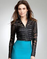 NWT Bebe black 100% Genuine Leather mesh zipper striped top Jacket XS party sexy