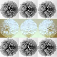 7 x silver white xmas tissue paper pompoms hanging  christmas party decorations