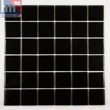 Mosaico de Vidrio Negro Plate Azulejos F. Pool, Baño, Cocina 29 , 5x29, 5x0, 4cm