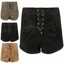 Womens Ladies Shoe Lace Eyelet Detail Casual High Waisted Hot Pants Suede Shorts