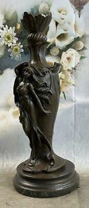 Vintage Art Nouveau Bronze Signed Cheret Nymph Goddess Statue Sculpture Gift