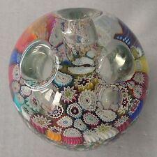 Rare Murano Glass Millefiori Pen Holder Paperweight 3 Holes w Label
