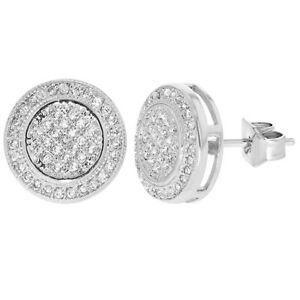 Rhodium Plated Round Bezel Micro Pave Clear Crystal Women Stud Earrings