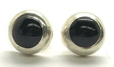 Vintage Sterling Silver Round - Circle Dome Black Onyx Inlay Stud Post Earrings