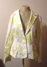 Liz Claiborne Women's Green & White Long Sleeve Button Jacket Top Size 16