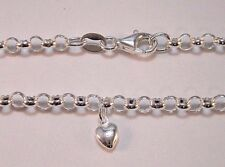 NEW Genuine Solid 925 Sterling Silver Round Belcher Anklet With A Heart Charm